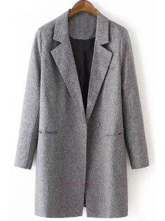 Gray Lapel Long Sleeve Maxi Blazer - Gray Xl