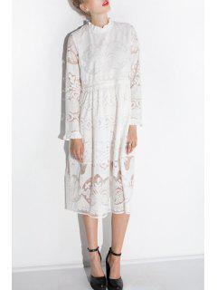 Ruff Collar Openwork Lace Hook Dress - White 2xl