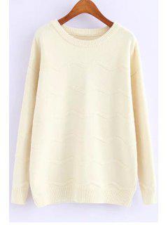 Solid Color Jewel Neck Long Sleeve Jumper - White