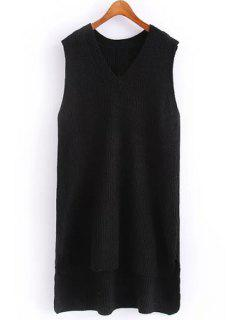 Solid Color V Neck Sleeveless Jumper - Black