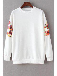 Floral Spliced Long Sleeve Sweatshirt - White M
