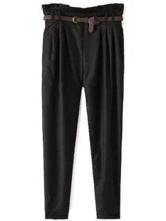 Narrow Feet Harem Pants With Belt - Black Xl