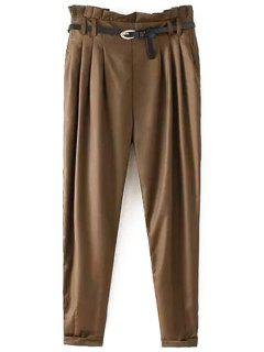 Narrow Feet Harem Pants With Belt - Coffee L