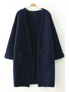 Pure Color Long Sleeves Pocket Cardigan - Cadetblue