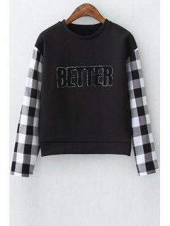 Checked Spliced Long Sleeve Sweatshirt - Black L