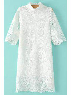 Stand-Up Collar Openwork Lace Dress - White M