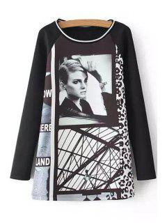 Woman Print Scoop Neck Long Sleeve Dress - Black S