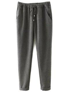 Elastic Waist Tie-Up Pants - Gray 2xl