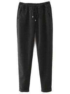 Elastic Waist Tie-Up Pants - Black S