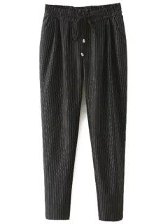 Tie-Up Stripe Pants - Black Xl