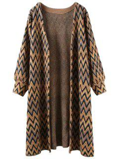 Open Front Zig Zag Long Cardigan - Coffee
