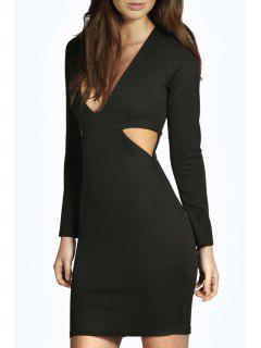 Cut Out Plunging Neck Long Sleeve Bodycon Dress - Black M