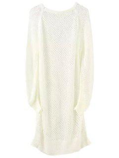 Loose-Fitting Long Hollow Sweater - White