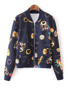 Key Floral Print Long Sleeve Jacket - Cadetblue M