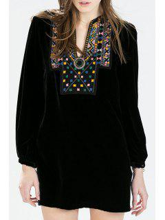 Geometric Pattern Embroidery Long Sleeve Dress - Black S