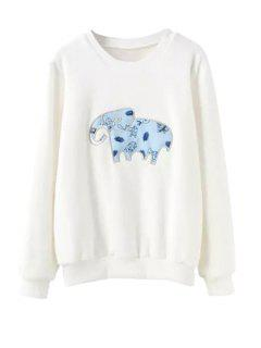 Long Sleeve Elephant Print Sweatshirt - White Xl