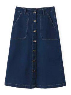 A Line Denim Midi Skirt - Blue L