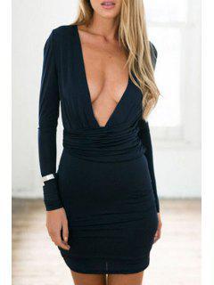 Pure Color Plunging Neckline Long Sleeve Dress - Black Xl
