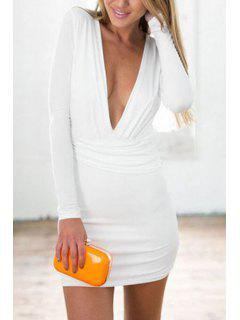 Pure Color Plunging Neckline Long Sleeve Dress - White L