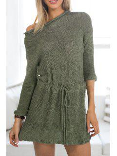 Solid Color Long Sleeve Sweater Dress - Army Green L