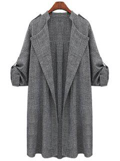 Draped Sleeve Solid Color Trench Coat - Gray 3xl