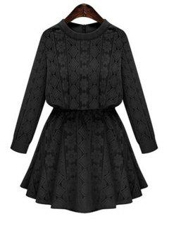 Long Sleeve Openwork Lace Hook Dress - Black Xl