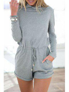 Gray Turtle Neck Long Sleeve Playsuit - Gray L
