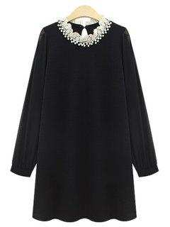 Long Sleeve Beaded Chiffon Dress - Black 2xl