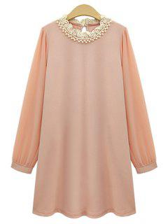 Long Sleeve Beaded Chiffon Dress - Pink 2xl