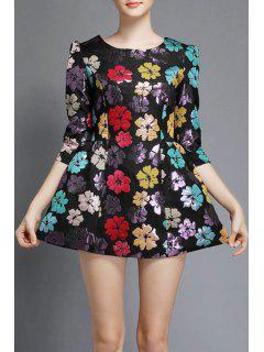 Three Quarter Sleeve Floral A-Line Dress - Black M