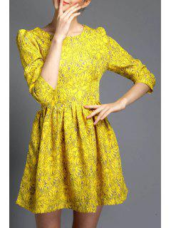 Floral A-Line Yellow Dress - Yellow S