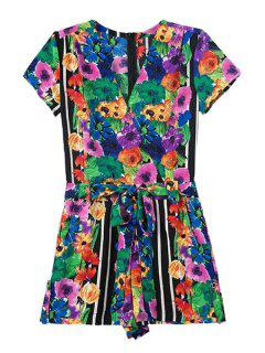 Colorful Floral Print Short Sleeve Romper - S