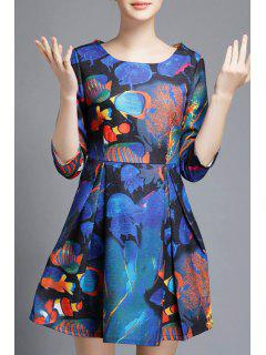 Underwater World Print A-Line Dress - Blue S