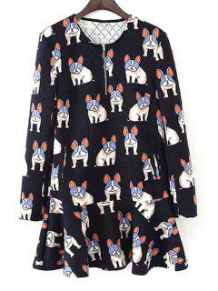 Dogs Print Long Sleeve Dress - Black S