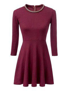 Sequined Embellished 3/4 Sleeve Dress - Red S