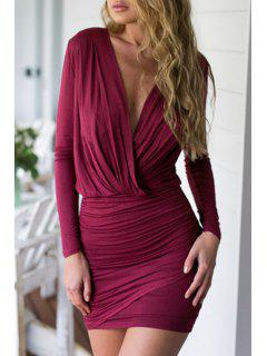 Wine Red Long Sleeve Bodycon Dress - Wine Red L