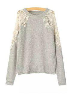 Lace Splicing Openwork Long Sleeve Sweater - Gray M