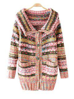 Turn-Down Collar Colorful Stripe Long Sleeve Cardigan - Pink
