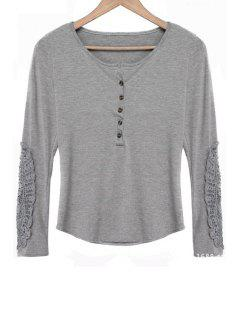 Lace Spliced Scoop Neck Long Sleeves T-Shirt - Gray Xl