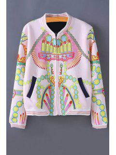 Stand-Up Collar Color Block Printed Jacket - Light Pink