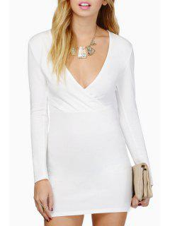 Plunging Neck Long Sleeve Bodycon Dress - White M