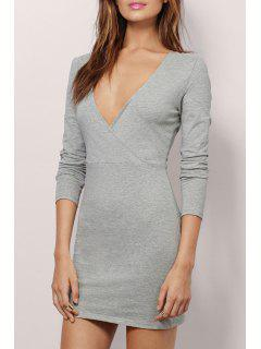 Plunging Neck Long Sleeve Bodycon Dress - Gray Xl
