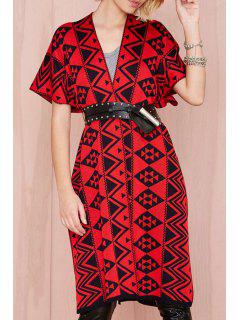 Red Black Argyle Pattern Short Sleeve Cardigan - Red