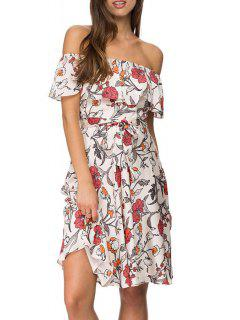 Off-The-Shoulder Floral Chiffon Dress - White L