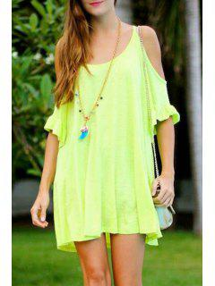 Solid Color Half Sleeve Cut Out Dress - Neon Green S