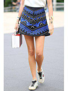 Color Block Embroidery Skirt - Blue And Black L