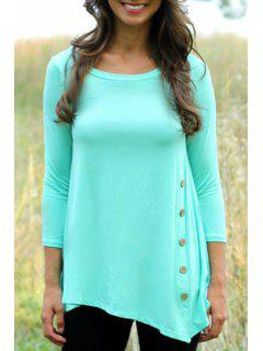 Single-Breasted 3/4 Sleeve T-Shirt - Azure S