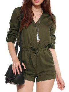 V-Neck Drawstring Army Green Playsuit - Army Green 2xl