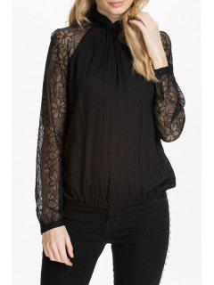 Long Sleeve Lace Spliced Black Blouse - Black 2xl