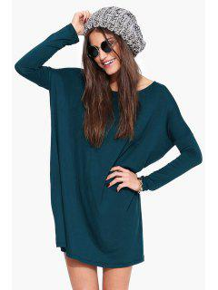 Boat Neck Loose Fitting Dress - Blue S